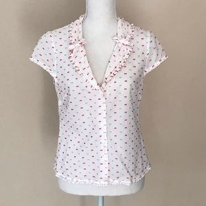 Anthropologie Odille Bow Button Down Shirt